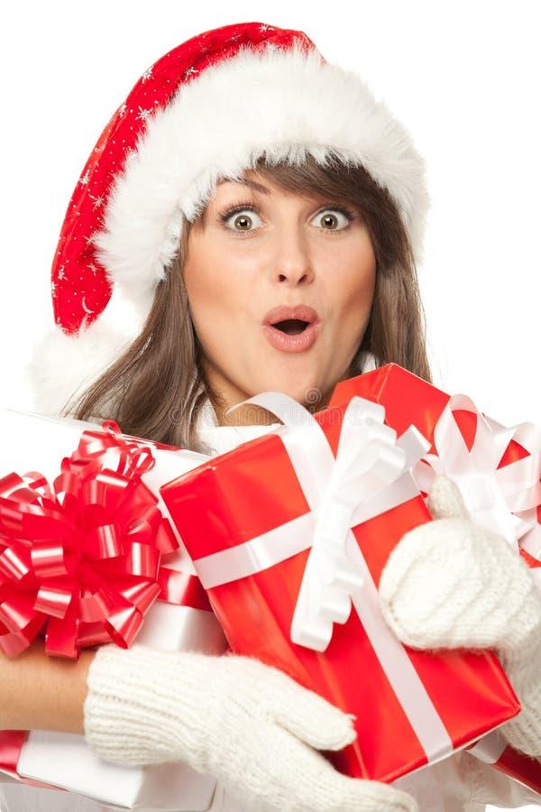 Het meisje van Kerstmis met vele giften stock afbeeldingen