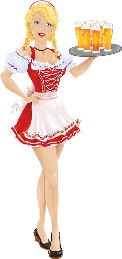 Het meisje van Oktoberfest met dienblad van bier stock afbeeldingen