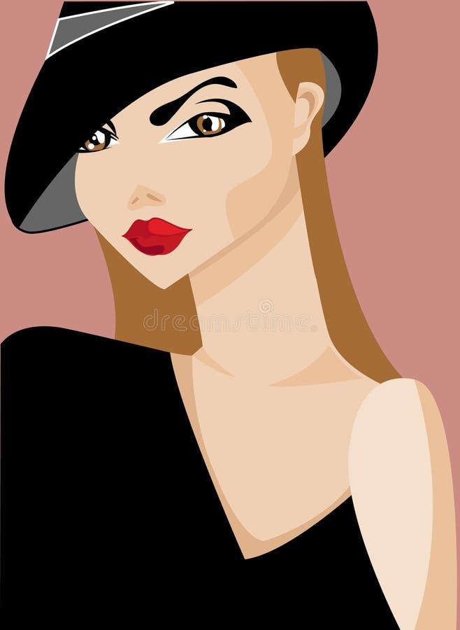 Het meisje van Parijs stock illustratie