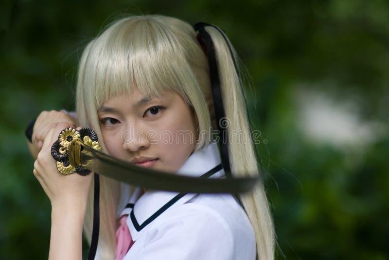 Het meisje van samoeraien stock afbeelding