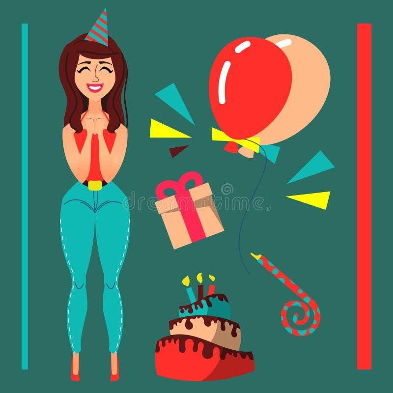 Het meisje van het schoonheidsbeeldverhaal in vlakke stijl Verjaardagsthema stock afbeeldingen