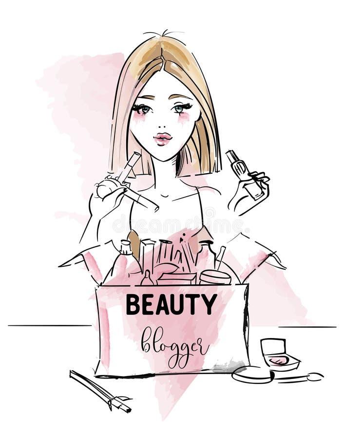 Het meisje van schoonheidsblogger stock illustratie
