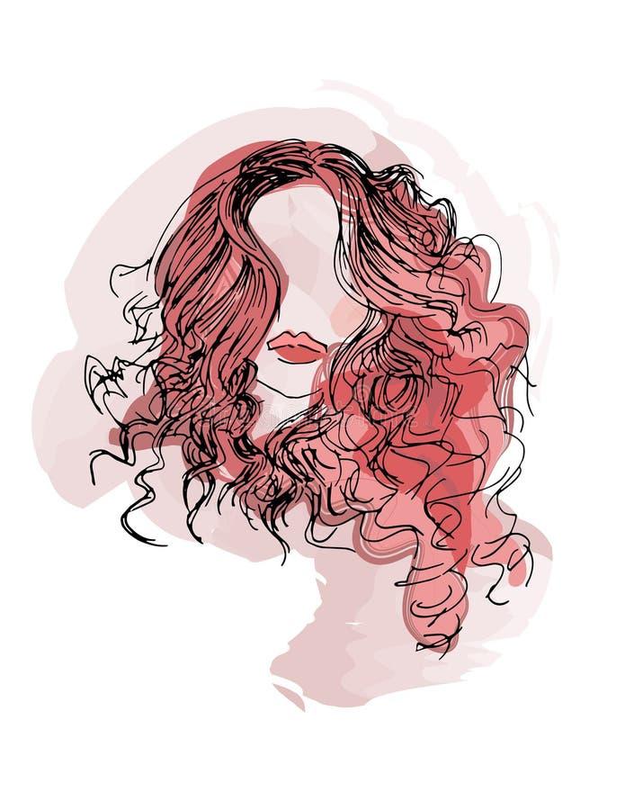 Het Meisje van het schoonheidshaar vector illustratie