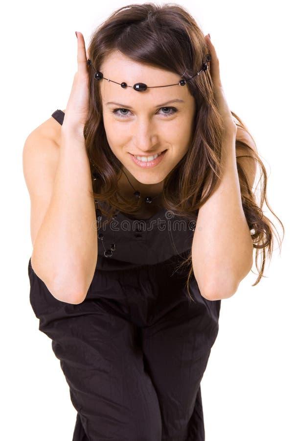 Het meisje van Smiley met parels royalty-vrije stock foto