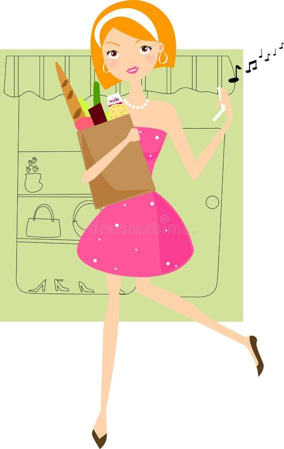 Het meisje van Supermarkdet stock illustratie