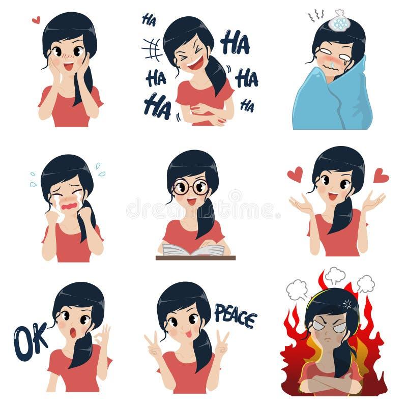 Het meisje in vele gebaren stock illustratie