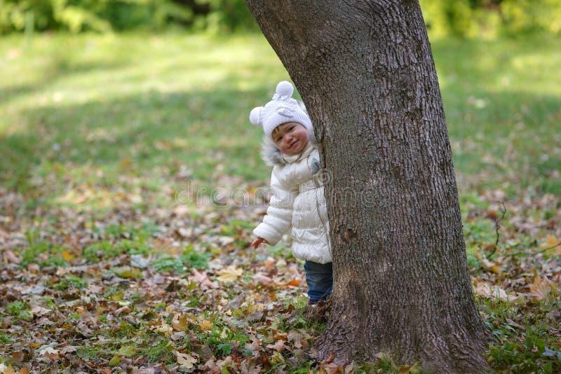 Het meisje verbergt achter een boom op een achtergrond van groen gebladertepark stock foto's