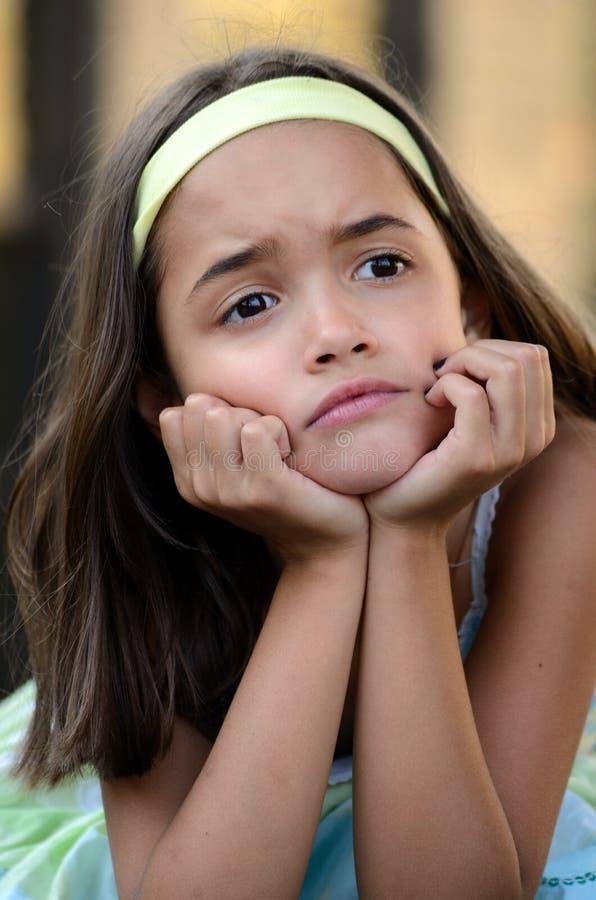 Het meisje is verstoord royalty-vrije stock afbeeldingen