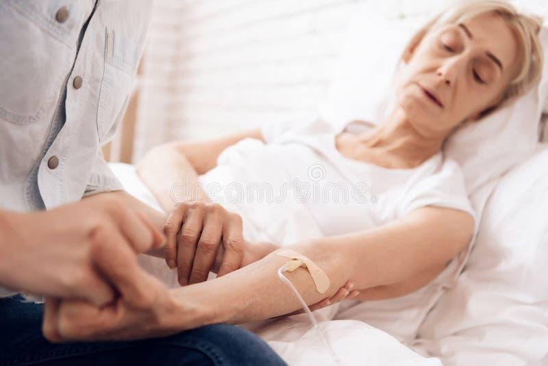 Het meisje verzorgt thuis bejaarde Zij houden handen De vrouw wordt verbonden met dalingsteller royalty-vrije stock fotografie
