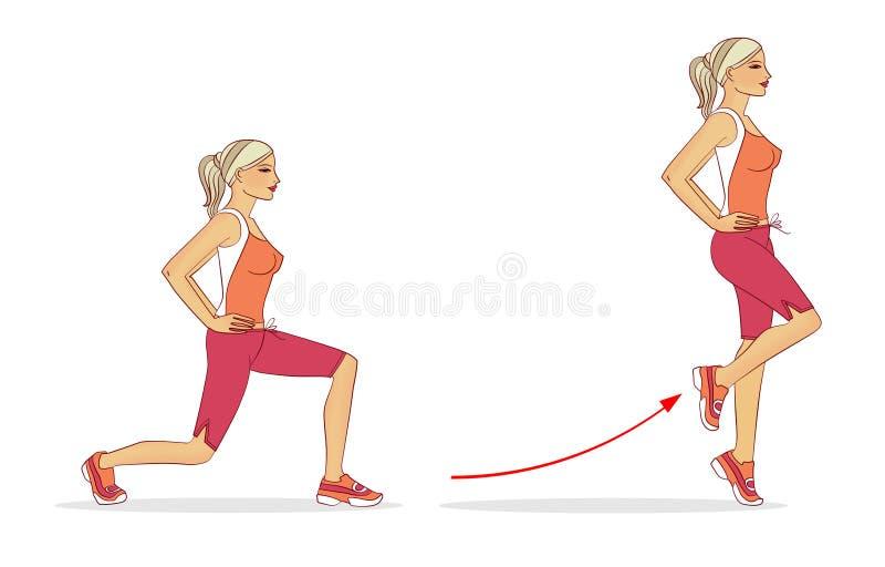 Het meisje voert achterwaartse oefening uit om de rechte dijspier te versterken vector illustratie
