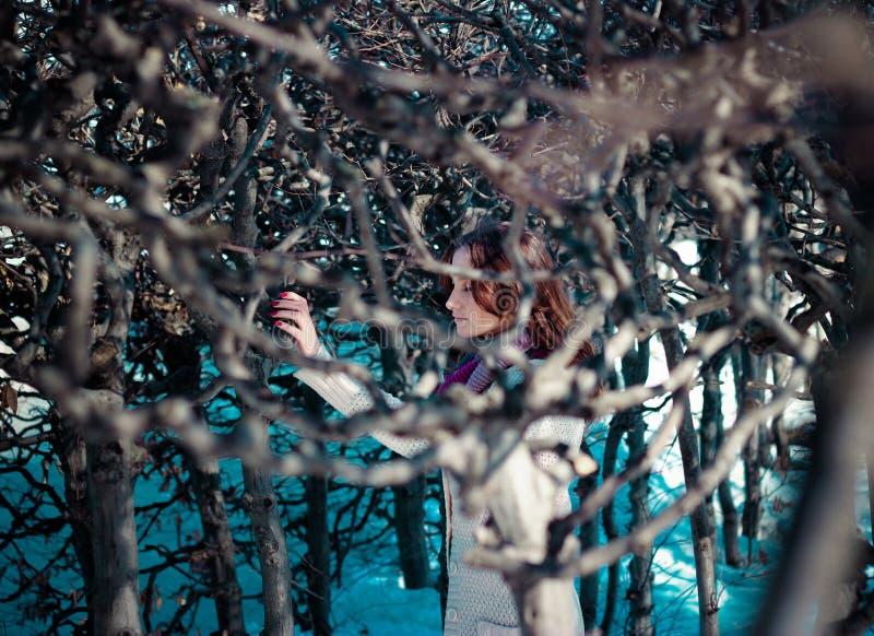 Het meisje werd verloren in wintergarden royalty-vrije stock afbeelding