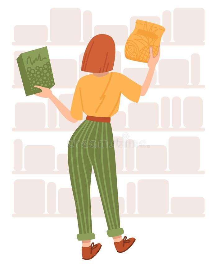 Het meisje winkelt op witte achtergrond Vlakke beeldverhaal vectorillustratie stock afbeelding