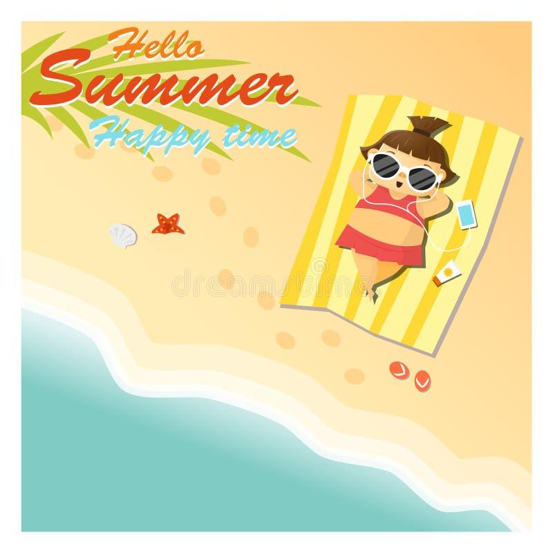 Het meisje zegt hello aan de zomer gelukkige tijd vector illustratie
