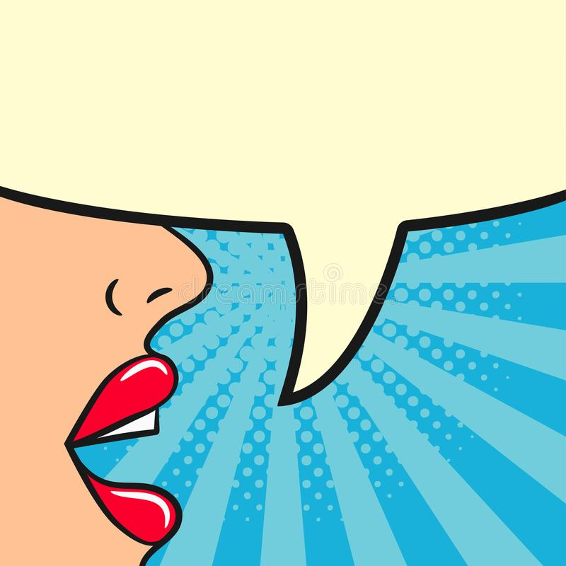 Het meisje zegt - vrouwelijke lippen en lege toespraakbel De vrouw spreekt Grappige illustratie in pop-art retro stijl Vector ill vector illustratie
