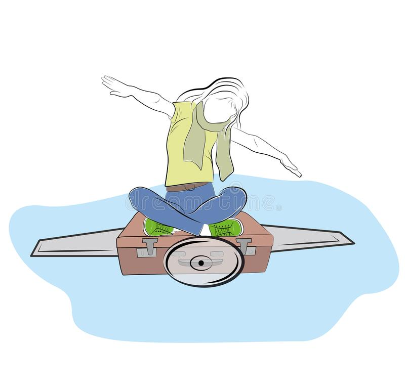 Het meisje zit op een koffer afschilderend een vlucht op een vliegtuig het concept het reizen dromen Vector illustratie stock illustratie