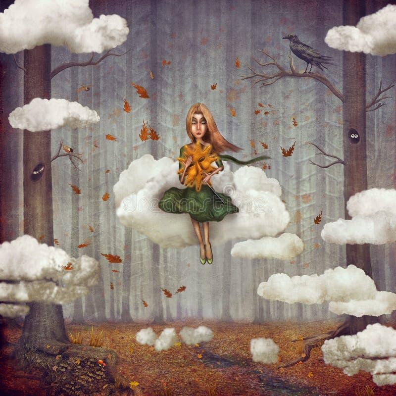 Het meisje zit op een wolk en in de herfstbos royalty-vrije illustratie