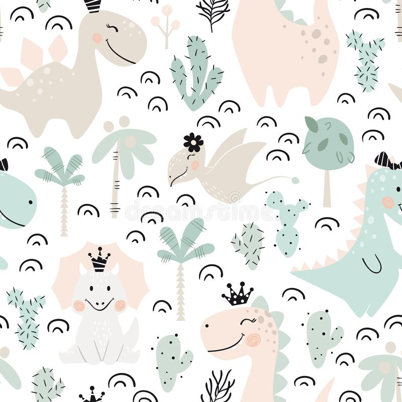 Het meisjes naadloos patroon van de dinosaurusbaby De zoete prinses van Dino met kroon Skandinavische leuke druk royalty-vrije illustratie
