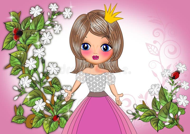 Het meisjesbeeldverhaal van prinsesjonge geitjes stock illustratie