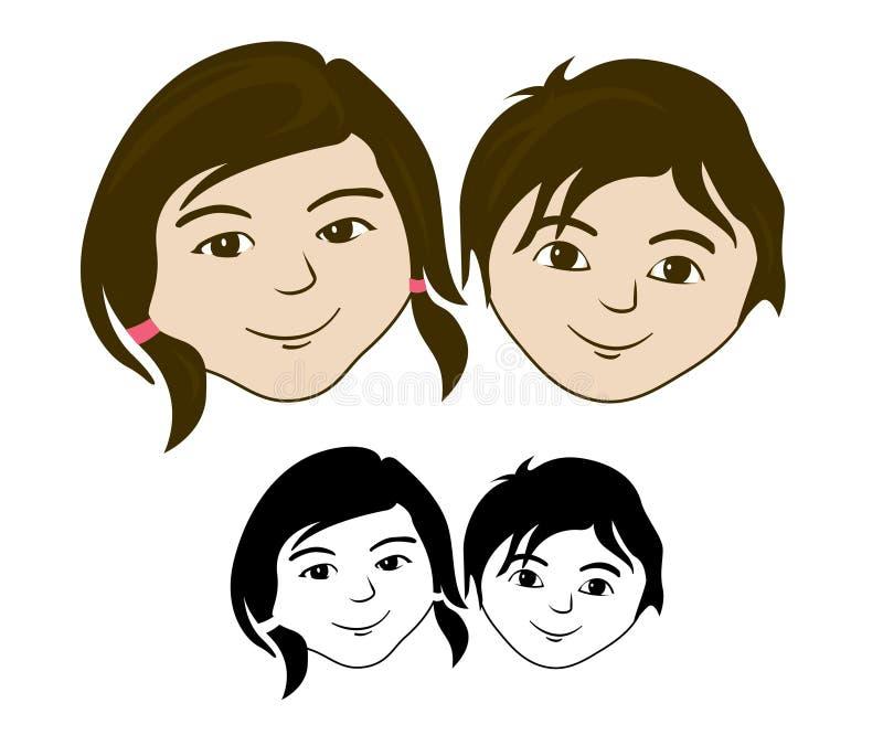 Het meisjesgezicht van de jongen vector illustratie