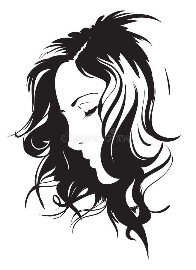 Het meisjesgezicht van de schoonheid vector illustratie
