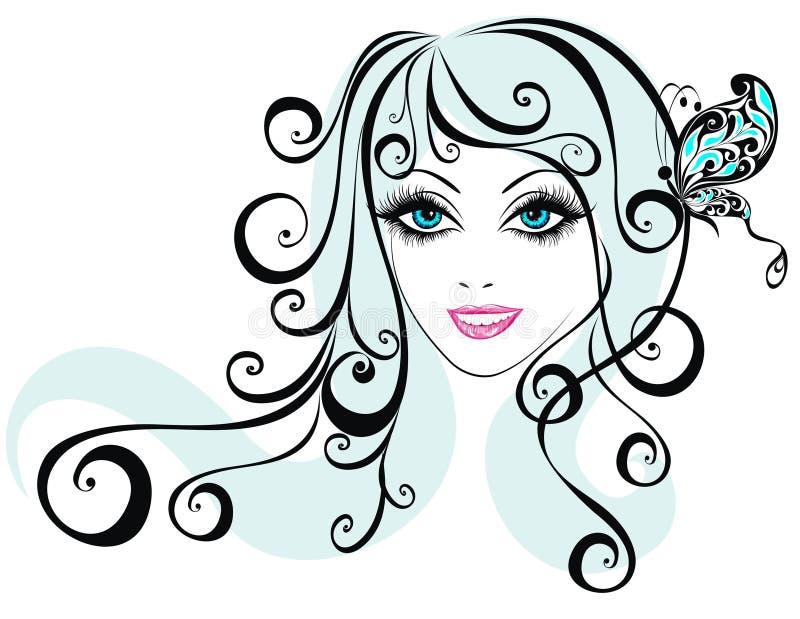 Het meisjesgezicht van de schoonheid met vlinder stock illustratie