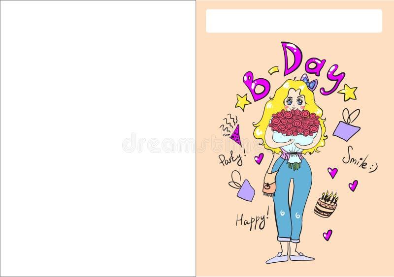 Het meisjesillustratie van de verjaardagskaart stock foto's
