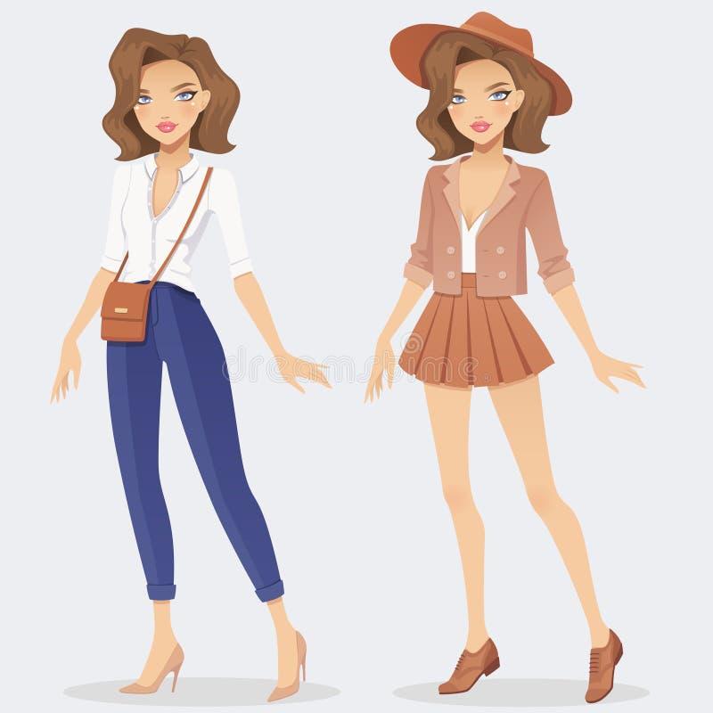 Het meisjeskarakter die van de beeldverhaalmanier twee toevallige uitrustingen dragen stock illustratie