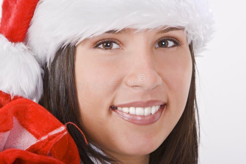 Het meisjesportret van de kerstman stock foto's