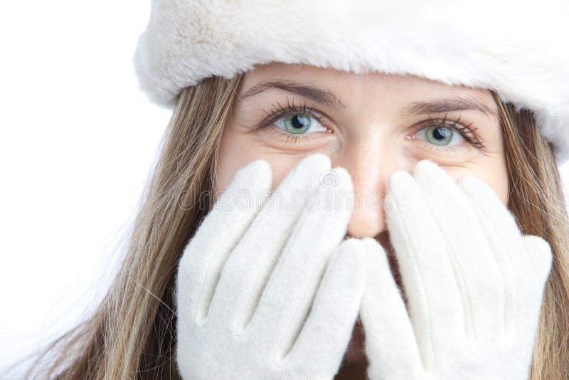 Het meisjesportret van de winter stock afbeeldingen