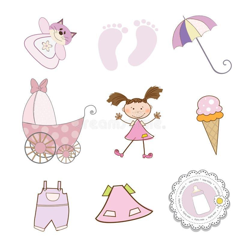 Het meisjespunten van de baby in vectorformaat worden geplaatst dat vector illustratie