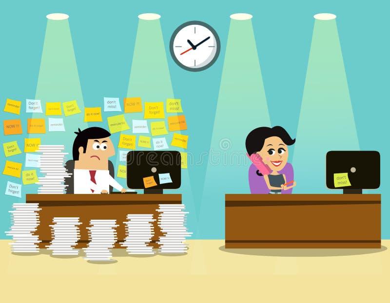 Het meisjesscène van de bedrijfslevenmens vector illustratie