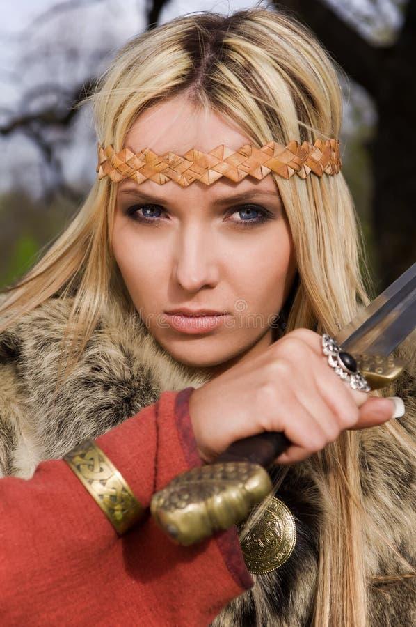 Het meisjesstrijder van Viking royalty-vrije stock foto