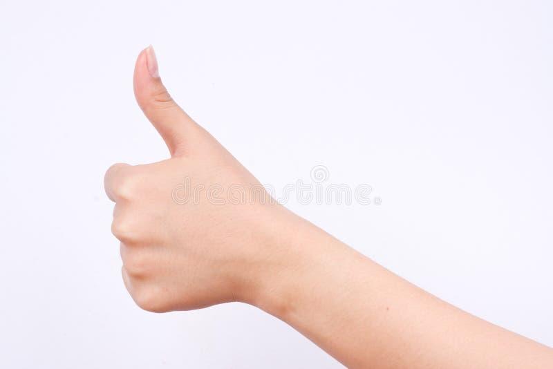 Het meisjessymbolen van de vingerhand het concept als en de beste uitstekende goede knoop op witte achtergrond royalty-vrije stock afbeelding