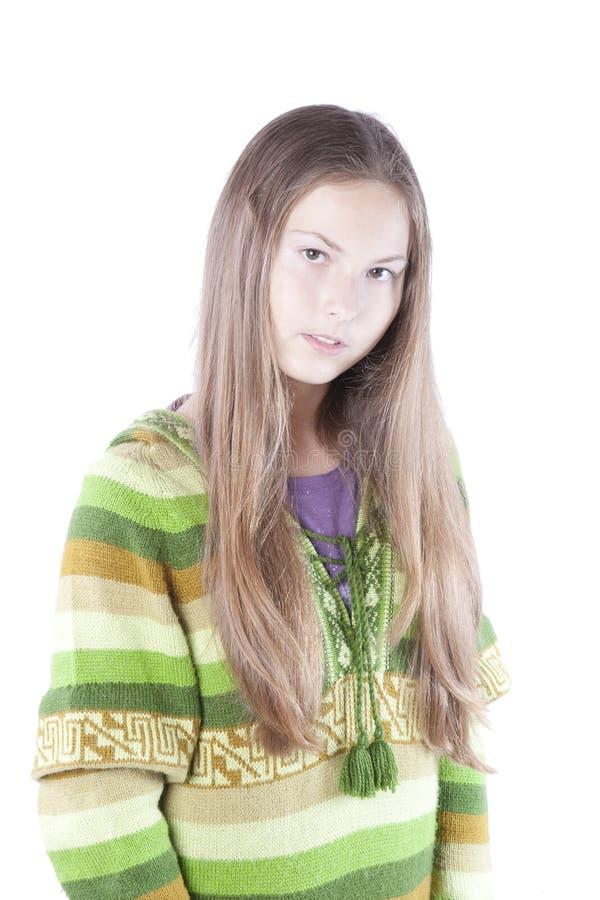 Het meisjestribune van de hippie op een witte achtergrond stock foto's