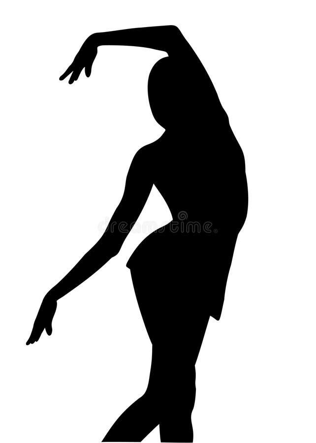 Het meisjesturner van het silhouet vector illustratie