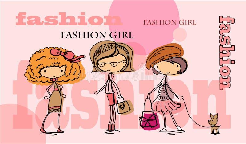 Het meisjesvector van de manier royalty-vrije illustratie
