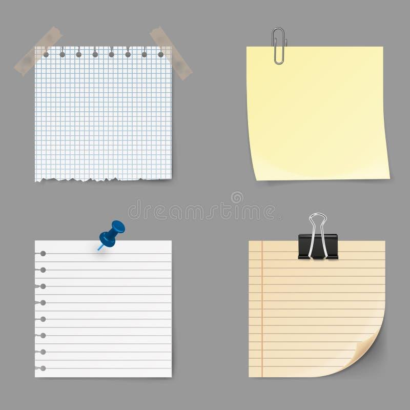 Het memorandum neemt nota van pictogrammen Reeks van gele kleverig Post-itnota op achtergrond wordt geïsoleerd die stock illustratie
