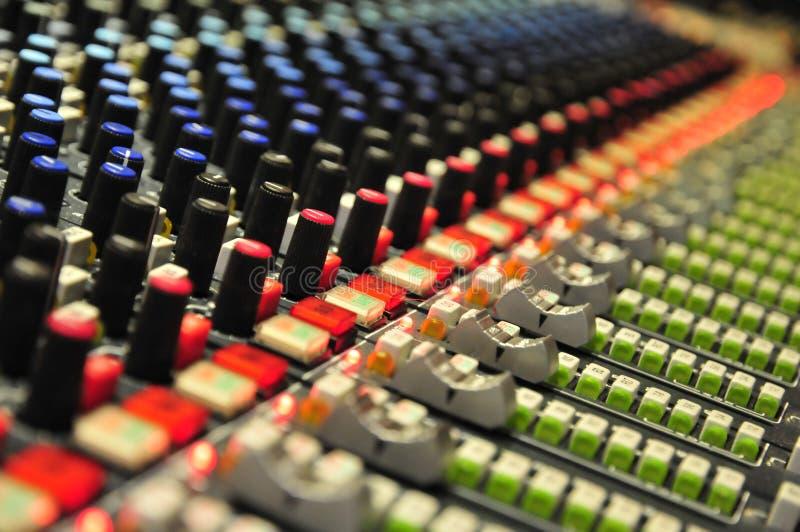 Het mengen van consoleclose-up in Abbey Road Studios, Londen stock foto
