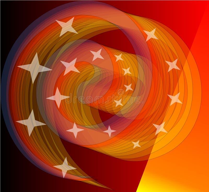 Het mengen van levendige sinaasappel spirale met weinig sterren Het moedige element van het avantgardeontwerp correspondeert goed vector illustratie