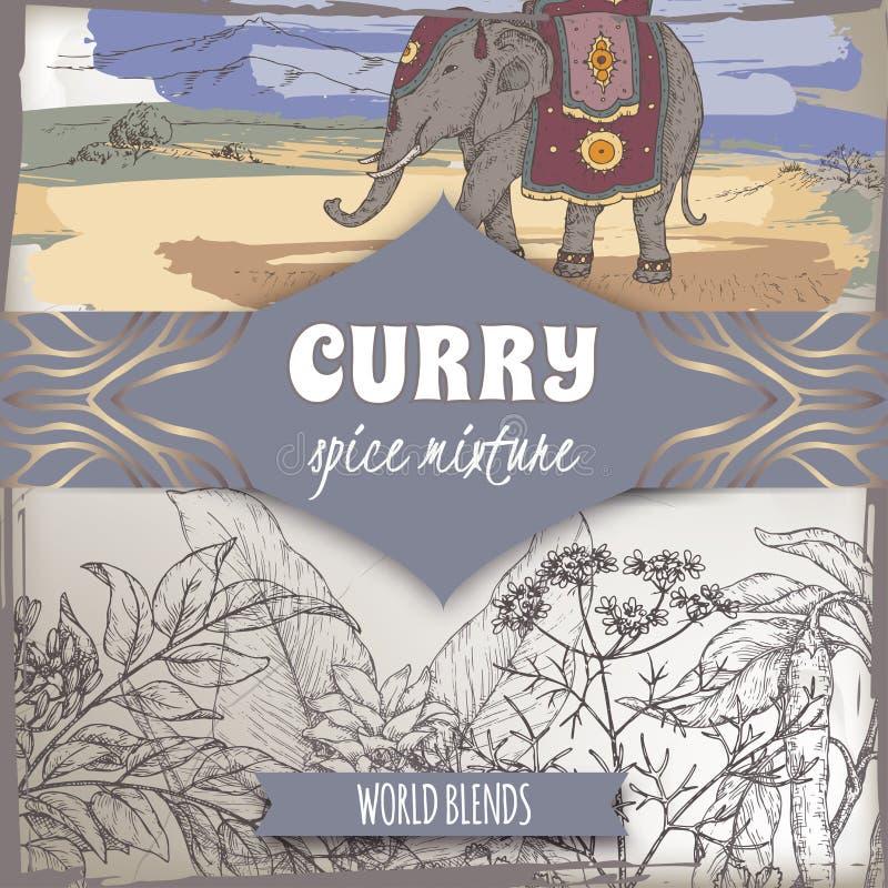 Het het mengselmalplaatje van het kerriekruid met kerrieboom, de kurkuma, de koriander, de Spaanse peperpeper en de Indische olif royalty-vrije illustratie
