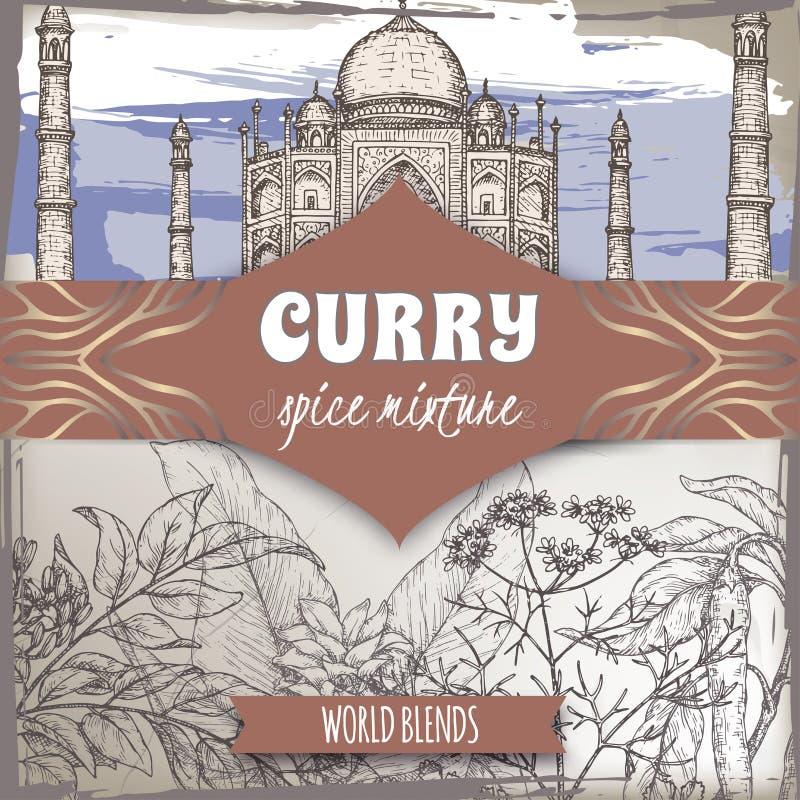 Het het mengselmalplaatje van het kerriekruid met kerrieboom, de kurkuma, de koriander, de Spaanse peperpeper en Taj Mahal kleure vector illustratie