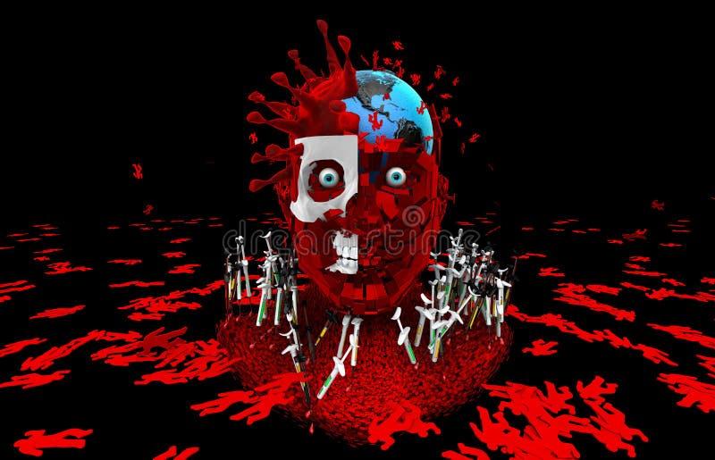 Het mensdom van het virussendoden Word ingeënt Bestrijding van het virus royalty-vrije illustratie