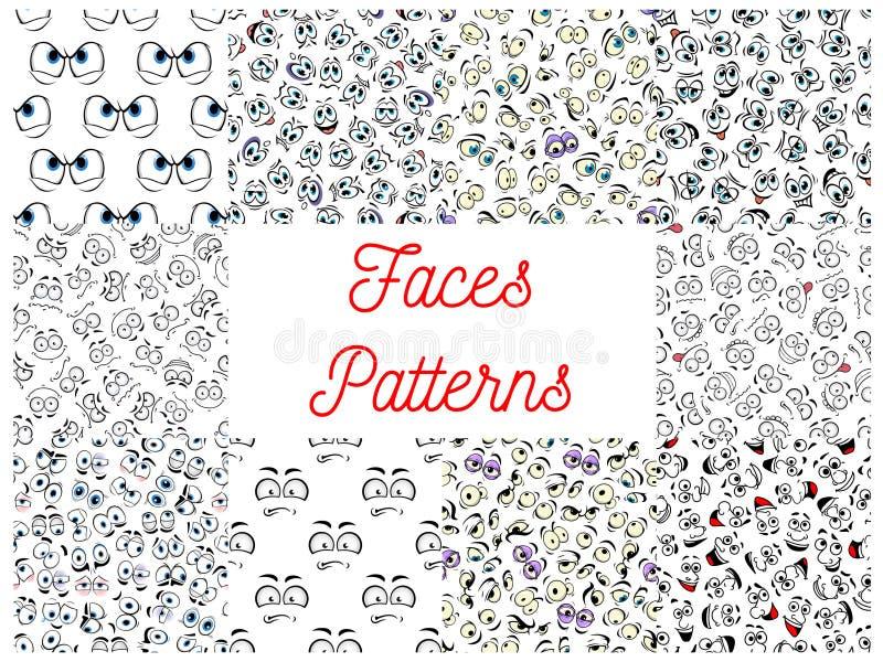 Het menselijke beeldverhaal ziet patronen onder ogen stock illustratie