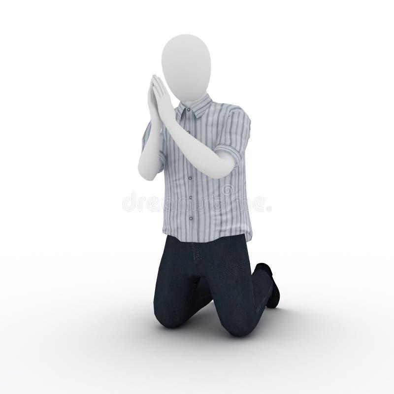 Het menselijke bidden royalty-vrije illustratie