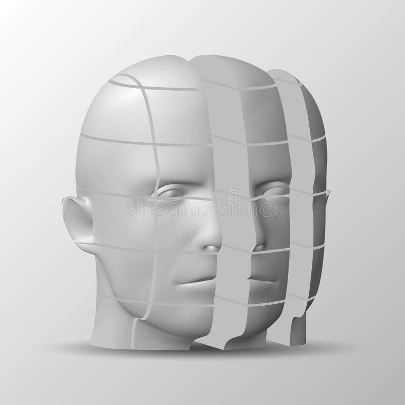 Het menselijke gezicht bestaat uit vierkante besnoeiingen Vectorillustratie, bedrijfsconcept stock illustratie