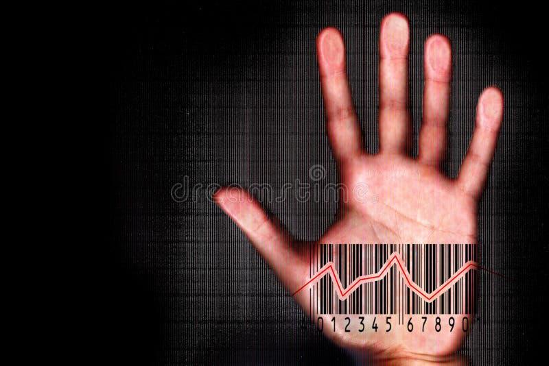 Het menselijke hand beeing afgetast met streepjescode halogram royalty-vrije stock afbeeldingen