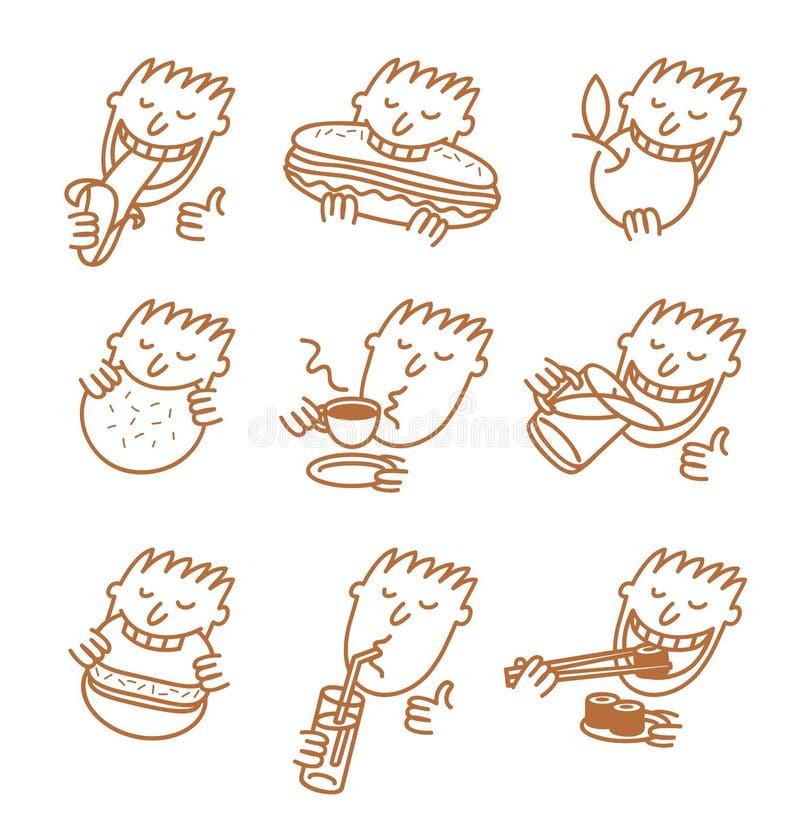 Het menselijke hoofd eet een maaltijd royalty-vrije illustratie