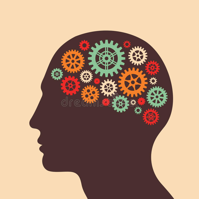 Het menselijke hoofd en de hersenen verwerken - vectorconceptenillustratie in vlakke ontwerpstijl voor bedrijfspresentatie, broch stock illustratie