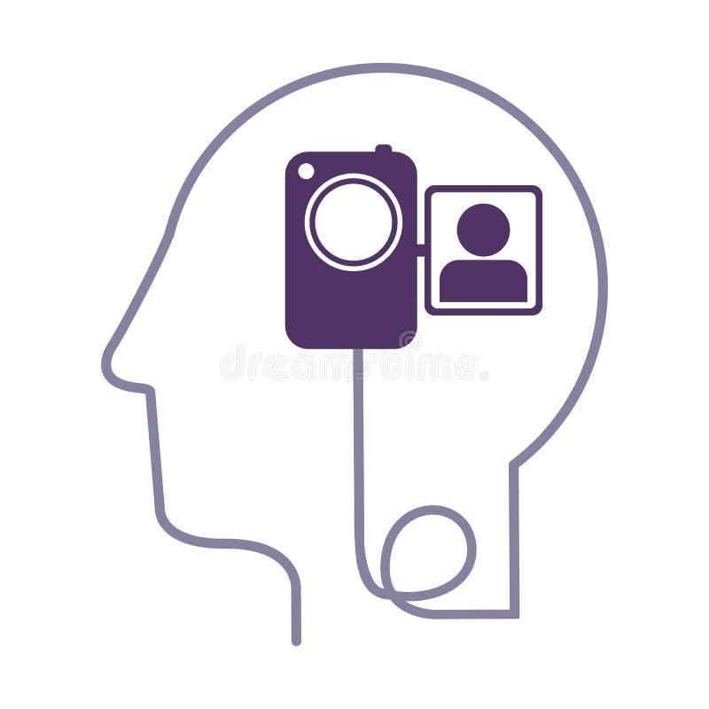 het menselijke hoofd van het silhouetprofiel met videocamera vector illustratie