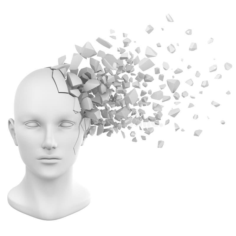 Het menselijke hoofd verbrijzelt wit stock illustratie